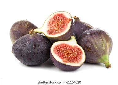 fresh figs, whole and halves, stacked on white background