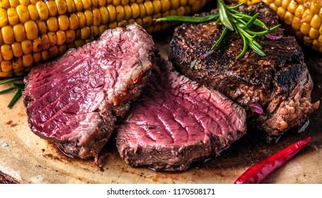 Fresh filet steak on table