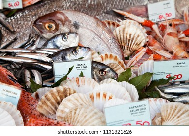 Fresh fish and clams in a market