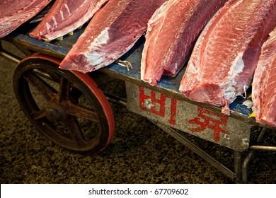 Fresh fish fillets at Tsukiji fish market in Tokyo, Japan