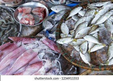 Fresh fish at local traditional market in Hue, Vietnam.