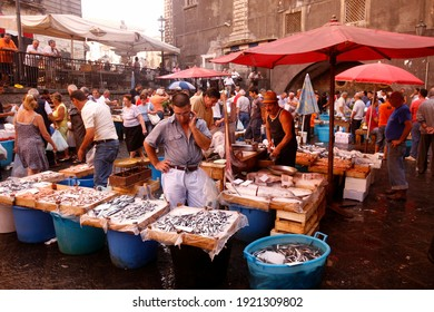 fresh fish at the Fish market in the old Town of Catania in the province of Sicily in Italy.   Italy, Sicily, October, 2014