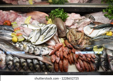 Fresh fish and other seafood.