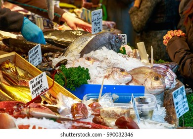 Fresh fish and other seafood on display at Borough Market in London