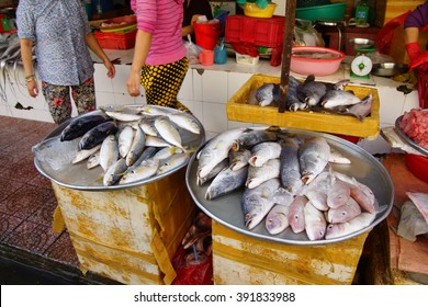 Fresh fish and other seafood for sale at the Ben Thanh market, Saigon (Ho Chi Minh City),  Vietnam
