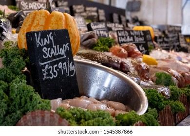 Fresh fish for sale at The Goods Shed, Canterbury farmers market, Kent UK