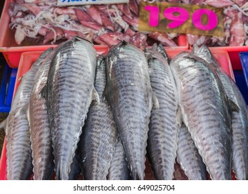 Fresh fish for sale at a local seafood market in Thailand.