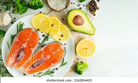 Fresh fish, salmon steaks with vegetables. Flat-lay. Top view, tasty and healthy food