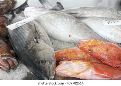 Fresh fishes seafood background, Azores, Portugal Sao Miguel market