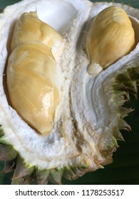 Fresh flash of durian, king of tropical fruits. Some people regard the durian as having a pleasantly sweet fragrance, whereas others find the aroma overpowering with an unpleasant odour
