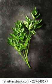 Fresh flat parsley leaves shot from above on dark background