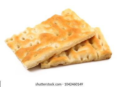 fresh flatbread on white background