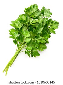 fresh flat-leaf parsley herb isolated on white background, top view