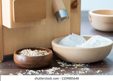 fresh flour and oats