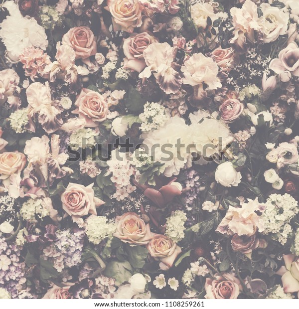 Fresh Flower Pattern Background Vintage Wedding Stock Photo (Edit ...