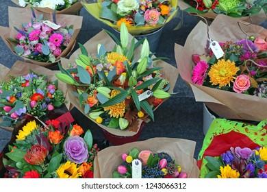 Fresh Flowers Bouquets in Florist Shop