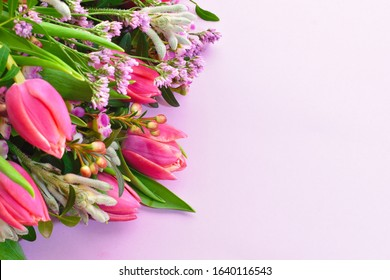 Fresh flowers card with copyspace. flowers with place for text. Beautiful floral card. Floral design. March 8. 14 Feb. Women's day. Spring flowers. Romantic soft Wallpaper.