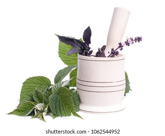 fresh with flowers in cup, isolated on white.