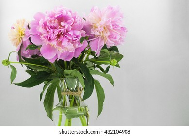 fresh flowers, peonies in a vase on white background