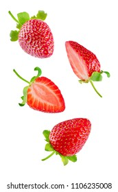 Fresh flying strawberries isolated. toning. selective focus