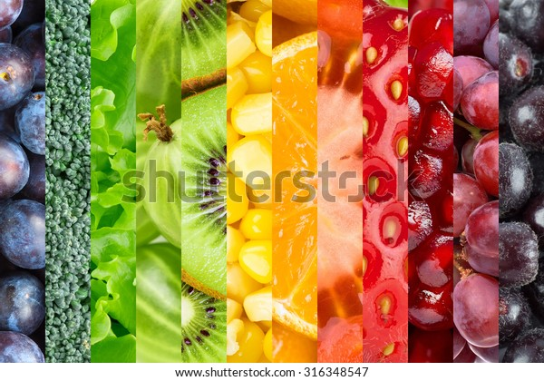 Fresh food background. Collection with different fruits, berries and vegetables