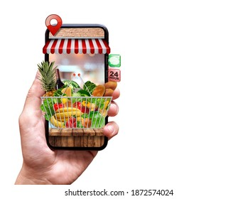 fresh food delivery from mobile phone on isolated background - Shutterstock ID 1872574024