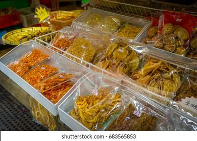 Fresh food indise of plastic bags in a market in fishermen town in lantau, Hong Kong, China