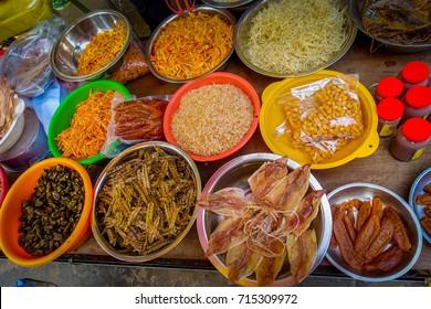 Fresh food in a market in fishermen town in lantau, Hong Kong, China