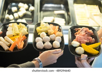 Fresh food Shabu set of Sukiyaki Japanese food, select focus