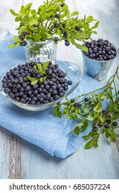 Fresh forest berry, blueberries in a glass plate on a wooden table.