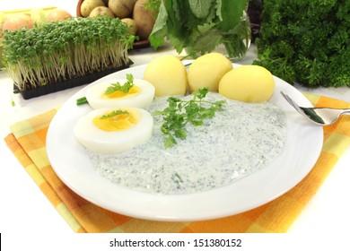 fresh Frankfurt green sauce with seven herbs