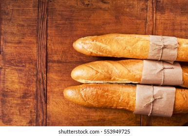 Fresh French bread with copy space