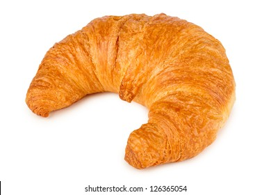 fresh french croissant on white background