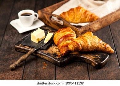 Fresh French croissants with butter