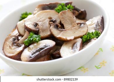 fresh fried mushrooms with parsley
