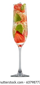 fresh fruit alcohol cocktail or mocktail in champagne glass with ice, strawberry and mint isolated on white background