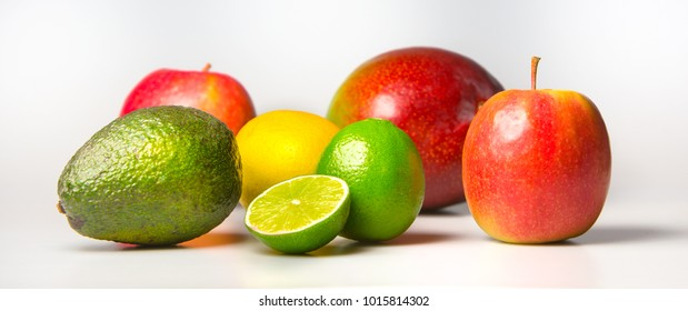 Fresh fruit in all colors with white back