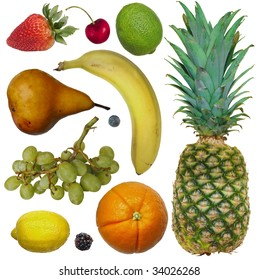 Fresh Fruit: an assortment of colorful fresh fruit in a fun arrangement against a white background