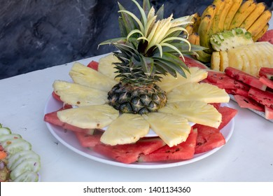 Fresh fruit being served on the beach in El Nido, Palawan.