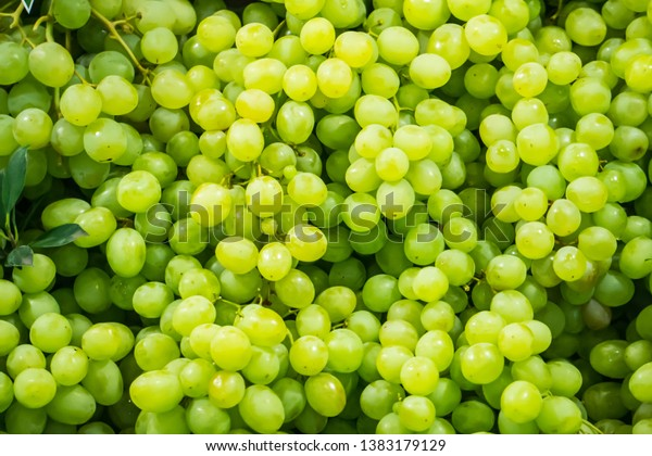 Fresh Fruit Brunch Green Grapes on Shelf in Fresh Fruit market Thailand Travel Background Concept
