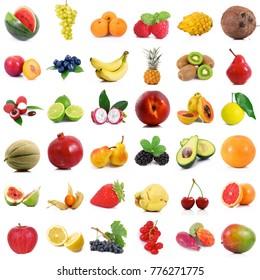 fresh fruit collage on white background