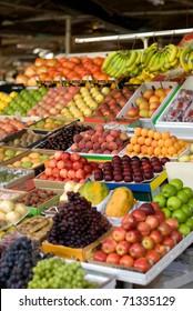 Fresh fruit, colourfully displayed at a market in Dubai, United Arab Emirates