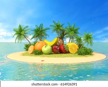 Fresh fruit. The concept of fruit juice. 3d illustration