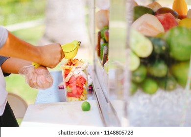 Fresh Fruit Cups being sold at fruit carts in summer in Los Angeles