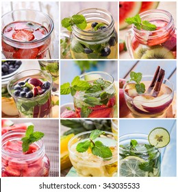 fresh fruit Flavored infused water mix of  fruits slices, Strawberry, blueberry, kiwi, cinnamon, apple, mint, and star fruit and water.  Infused water