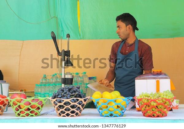 Fresh Fruit Juice Seller Mayapur Iskcon Stock Photo (Edit Now