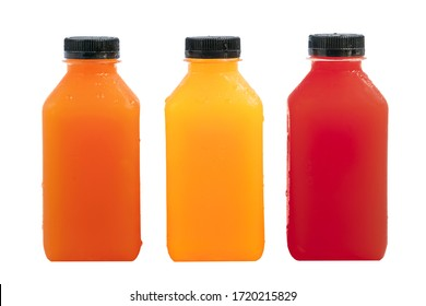 Fresh fruit juice in small clear plastic bottle.Cube shaped bottles. Blank front area for branding labels. Orange juice, carrot juice and beetroot or pomegranate juice. Isolated on white background.