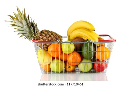 Fresh  fruit in metal basket isolated on white background