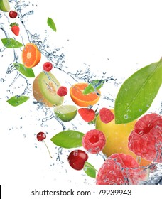 Fresh fruit in motion