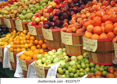 Fresh fruit on display at a farmer's market
